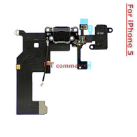 Black Dock Connector Flex Cable&Headphone Jack For iPhone 5 5G Free Shipping