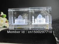 New creative Wholesale 5*5*8cm 3D laser engraved Crystal image building Series Taj Mahal  model souvenir gift  home decoration