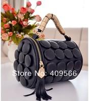 2014 New Arrivel Button Bucket Bag Becoration Handbag New Hot Fashion High Quality Women's Tote Handbag Black Free Shipping