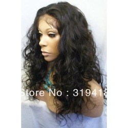 Lace Front Wig 100% Indian Remy Human Hair Lace Wig online French Lace Loose body wave curly Beautiful Full wigs Wholesales NEW!(China (Mainland))