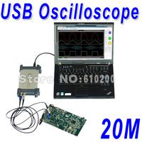 Free Shipping 6022BE USB Analog Oscilloscope portable Virtual oscilloscope PC oscilloscope kit Bandwidth 20M Sampling Rate 48M