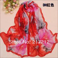 Hot style New Women's summer and winter Fashion flowers printed Design chiffon georgette silk scarf/ shawl SC126!