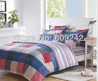 Free shipping,Twin Full Queen King size plaid 100% cotton printed 4pcs bedding sets/duvet cover sheet bedlinen