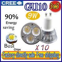 Factory directly sale 10pcs/lot CREE Bulb led bulb GU10 9w 3x3W 110V 220V Dimmable led Light led lamp spotlight free shipping