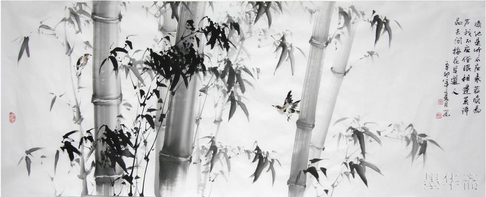 Oriental Asian pincel de pintura de tinta Original decorativo pintura chinesa Bambo100 % pintados à mão pintura de presente grande arte da parede(China (Mainland))