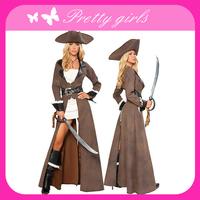 Free shipping 2013 Wholesale Women Adult Plus Size Halloween Pirate Costume Size:M-3XL