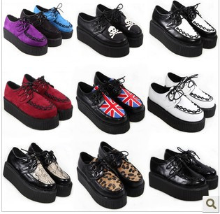 2013 Fashion Black Suede British Punk Creepers Flats Hot Sale Lace up Skull American Flag Boat Shoes Summer Autumn(China (Mainland))