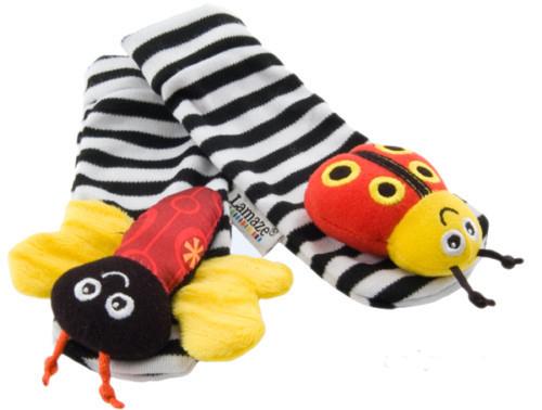 Chocalhos brinquedos do bebê Lama Jardim Rattle Bug pulso e Meias Pé educacionais para T112 Bebê Drop Shipping(China (Mainland))