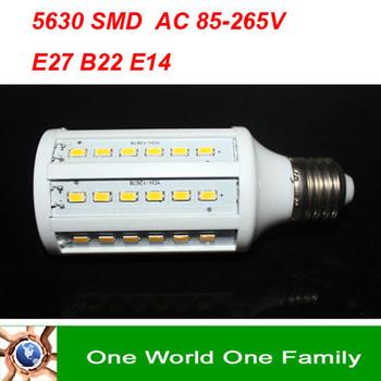 Free Fedex E27 B22 E14 LED Corn Bulb AC 210-240V 220V 230V 240V LED Lamp Light Bulbs Lighting 5630SMD 60 leds15W Warm & White