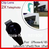 External clip lens telephoto 2x lens with clip for iphone4 iphone4s iphone5 ipad2 and new ipad