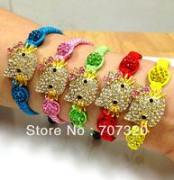 50% off wholesale kids hello kitty macrame shamballa bead bracelet / bangle with free shipping
