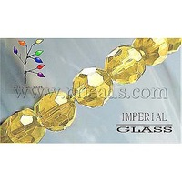 Glass Beads Strands,  Faceted,  Round,  Gold,  about 8mm in diameter,  hole: 1mm,  about 40pcs/strand,  13""