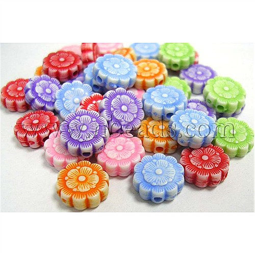 Acrylic Flower Beads, Craft Style, DIY Material for Children's Day Gifts Making, Mixed Color, Size: about 10mm in diameter(China (Mainland))