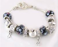 925 silver bracelet-APB42-Charmiliar bracelet for woman Cham Charmiliar beads bracelet 925 sterling silver crystal bead bracelet