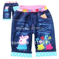 New 2014 Hot Summer Peppa Pig Girls Shorts Jeans Girls Cloth Kids Shorts Children's Shorts Kids Denim Cloth denim shorts girl
