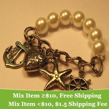 fashion vintaged imitation-pearl dependant heart bracelet jewelry !! cRYSTAL sHOP