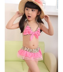 Free Shipping Lovely Baby Toddler Girls Swimwear Leopard Bikini Kids Child Swimsuit 5 Sizes B1135-B1139(China (Mainland))