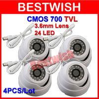 Freeshipping 4PCS/Lot 700TVL Surveillance Color CMOS 3.6mm Indoor 24pcs IR LEDs Security Mini Dome CCTV Camera Neutral Color Box