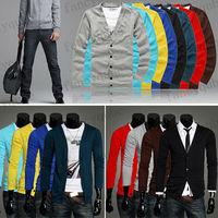 BEST SELLER 8 Colors Men Long Sleeves Knitwear Slim Fit V-neck Cardigan Sweater 4 size MF-3807