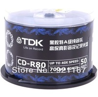 Free shipping,High quality record disk A+++,Blank disc TDK CD-R Recordable,Black,700M, CD 40X ,1case of 50 CDs