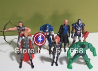DHL Free shipping Set of 7PCS The Avengers Heros Hulk+Captain America+Iron Man+Thor+Black Widow Action Figure Toys