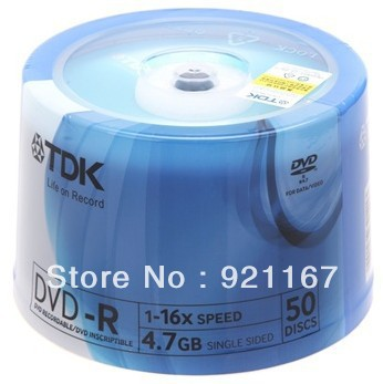 Free shipping,High quality record disk ,Blank disc TDK DVD-R Recordable,4.7G, Blue,DVD 16X ,1case of 50 CDs