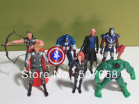 Free shipping Marvel The Avengers Heros Hulk+Captain America+Iron Man+Thor+Black Widow 7pc Action Figure
