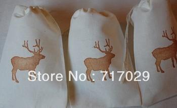 10 Mountain Elk Muslin Organic Muslin Cotton Favor Gift Bags with Drawstrings Great for Rustic Weddings
