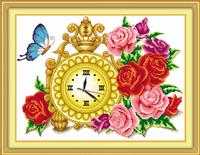 promotion 1 set  DIY handmake 55cm*40cm 100% precise print butterfly flower pattern clock  cross stitch kits set