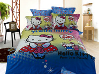 New Beautiful 4PC 100% Cotton Comforter Duvet Doona Cover Sets FULL / QUEEN / KING SIZE bedding set 4pc cartoon blue hello kitty