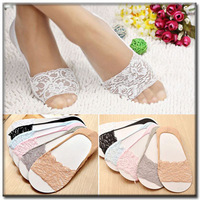 New 2014 women spring summer fashion cotton cute cartoon toe sock sexy  lace shallow socks slippers foot cover meias Wz-15