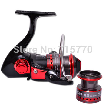 Trulinoya Ultra Light Spinning Fishing Reel Black Hawk HY2000 Two Aluminum Spools 10 Ball Bearings
