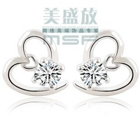 Simple love heart style 925 sterling silver & AAA zircon & platinum plated cz crystal stud earrings wholesale jewelry