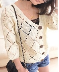 2013 spring cutout crochet loose puff sleeve cardigan sweater outerwear women's(China (Mainland))