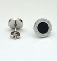 Titanium Oval Stud Earring Roman Numerals Earrings Great Wall Stud Ear Best Sales Body Jewelry Free Shipping DS2260