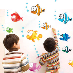 Cheap Free shipping DIY Cute 25x Fish Removable Wallpaper Child's Room Bathroom 45*60cm PVC Decal Kid bedroom Wall Stickers(China (Mainland))