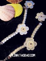 European hotsale korean style fashion 2Color green blue handmade beautyful flower charm bracelets for women designer bracelet