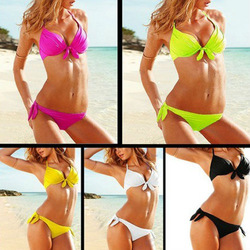 Women Sexy Push up Padded Bra Beach Bikini Swimsuit Set Neon Swimwear XS S M 2013 New On Arrival Lowest Price Wholesale!(China (Mainland))