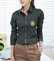 free shipping 2013  free shipping 2013 fashion Korean version plus size blouses women long sleeve shirt 9520