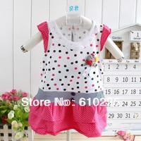3 pcs/lot Little Girls' Very Cute Bamboo Fiber Dotty Pattern One-piece Dress Kids Dress Children Sleeveless Summer Clothes
