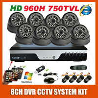 Freeshipping Sony 960H Effio 750TVL 8ch CCTV System Kit 8ch Full D1 DVR, Security Camera System