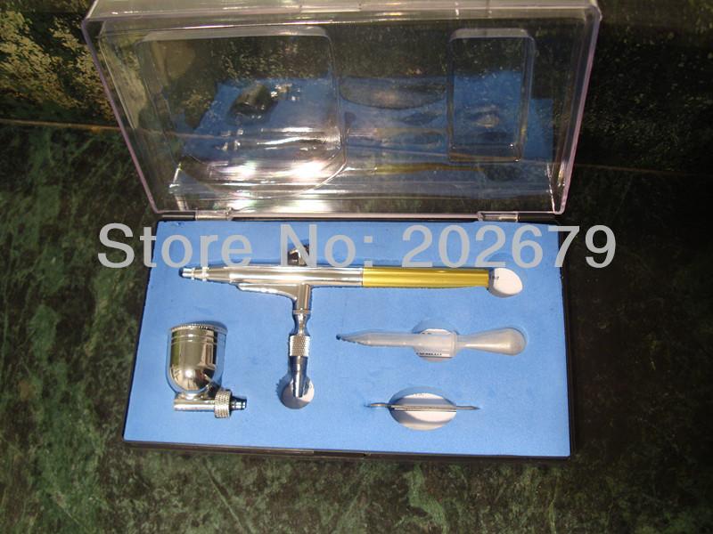New 0.3mm Spray DUAL ACTION Nail Airbrush set Gun Paint Free Shipping hot sell glod color(China (Mainland))