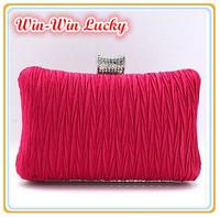 2014 New Women's Fashion Clutches. Wrinkled Satin Wild Wedding Bridal Handbag. Chain Can Messenger Evening Bag Multicolor