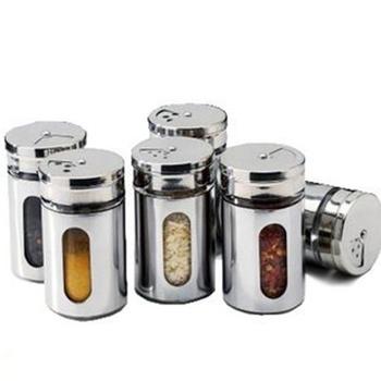 NEW Stainless steel spice jar sauce pot seasoning bottle condiment bottles toothpick tube Stainless steel Cruet
