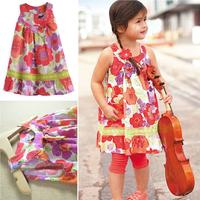 Gril Print Dress Brand New 2014  Flower Print  Girl's Dresses Tank Dress Vestidos De Menina Children's Clothing  LE0002