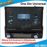 Universal DVD GPS Player with optional android 4.0 DVD GPS BT RADIO IPOD USB SD Free Shipping