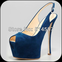 Free shipping royal blue high heel dress shoes buckle peep toe platform pumps for women square toe women sandals 16CM