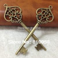 40pcs/lot Peach heart Lace Alloy/Metal Antique bronze 70*22MM Key Charm Pendant,Necklace/Bracelet charms DIY Jewelry Accessories
