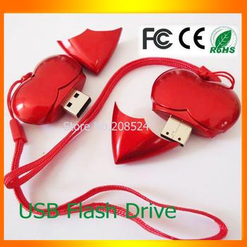 HOT SALE! 2GB 4GB 8GB 16GB 32GB USB 2.0 Red love  Flash Drive Stick  Full Capacity 8G 32GB U Disk  Memory Pen Drive Card Key New