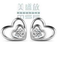 2013 new design heart in heart 925 sterling silver & AAA zircon & platinum plated female stud earrings free shipping